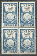 France YT N°771 UNESCO Paris (Bloc De Quatre) Neuf ** - France