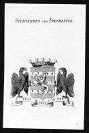 """Freiherren Von Freemantle"" - Freemantle Wappen Adel Coat Of Arms Heraldry Heraldik Kupferstich - Stiche & Gravuren"