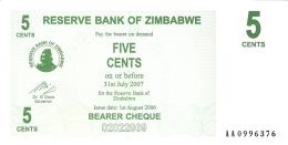 ZIMBABWE   5 Cents   1/8/2006   P. 34   UNC - Zimbabwe