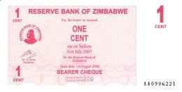ZIMBABWE   1 Cent   1/8/2006   P. 33   UNC - Zimbabwe