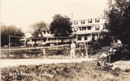 Burkehaven Hotel In New Hampshire(?), Tennis Court, Man Woman Play Tennis, C1920s/30s Vintage Real Photo Postcard - Tennis