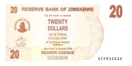 ZIMBABWE   20 Dollars   1/8/2006   P. 40   UNC - Zimbabwe