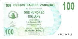 ZIMBABWE   100 Dollars   1/8/2006   P. 42   UNC - Zimbabwe