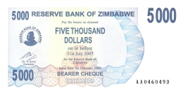 ZIMBABWE   5000 Dollars   1/2/2007   P. 45   UNC - Zimbabwe