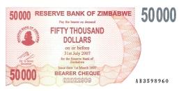 ZIMBABWE   50,000 Dollars   1/3/2007   P. 47   UNC - Zimbabwe