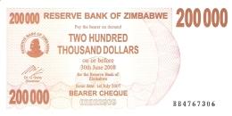 ZIMBABWE   200,000 Dolars   1/7/2007   P. 49   UNC - Zimbabwe