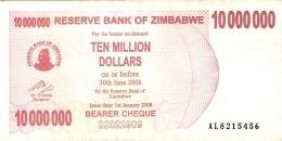 ZIMBABWE   10 Million Dolars   1/1/2008   P. 55a - Zimbabwe