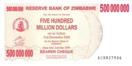 ZIMBABWE   500 Million Dollars     2/5/2008   P. 60   UNC - Zimbabwe