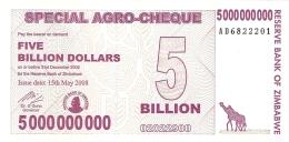 ZIMBABWE   5 Billion Dollars     15/5/2008   SPECIAL AGRO-CHEQUE   P. 61   UNC - Zimbabwe
