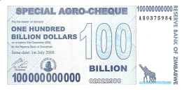 ZIMBABWE   100 Billion Dollars     1/7/2008   SPECIAL AGRO-CHEQUE   P. 64   UNC - Zimbabwe