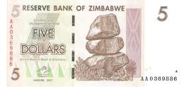 ZIMBABWE   5 Dollars   1/8/2008   P. 66   UNC - Zimbabwe