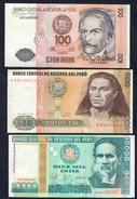 Perù 100 + 500 + 1000 Intis  LOTTO  144 - Perú