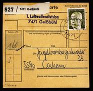 A4603) Bund Paketkarte Von Bundeswehr Geißbühl 7.8.70 Ermäßigtes Porto - BRD