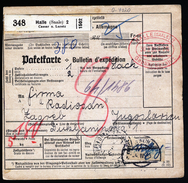 A4608) DR Paketkarte Von Halle 30.3.39 Nach Zagreb Nachporto - Briefe U. Dokumente