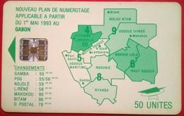 Gabon Phonecard 50 Units Map - Gabun