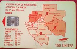 Gabon Phonecard 150 Units Map - Gabon
