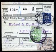 A4610) DR Paketkarte Greiz 25.3.26 Nach Ljubljana Nachporto - Deutschland