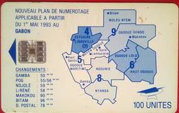 Gabon Phonecard 100 Units Map - Gabon