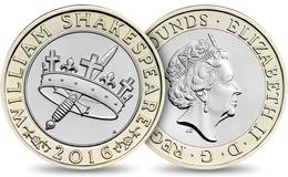 UK GREAT BRITAIN GRANDE BRETAGNE Großbritannien Gran Bretagna 2 POUNDS WILLIAM SHAKESPEARE HISTORY BIMETAL UNC 2016 - 1971-… : Decimal Coins