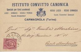ISTITUTO CONVITTO CANONICA-CARMAGNOLA TORINO- REGIO LICEO- REGIO GINNASIO-VIAGGIATA NEL 1897-OTTIMO STATO CONSERVAZIONE - Schulen