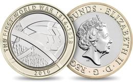 UK GREAT BRITAIN GRANDE BRETAGNE Großbritannien Gran Bretagna 2 POUNDS CENTENARY OF FIRST WORLD WAR BIMETAL UNC 2016 - 1971-… : Monete Decimali