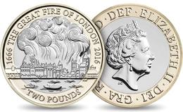 UK GREAT BRITAIN GRANDE BRETAGNE Großbritannien Gran Bretagna 2 POUNDS GREAT FIRE OF LONDON BIMETAL BI-METALLIC UNC 2016 - 1971-… : Decimal Coins