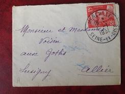 Mignonette 9x6.5 Cm MEREVILLE Pour LUSIGNY - Storia Postale
