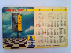 Sri Lanka Phonecard 100 Rs 31SRLB 1997 Calendar