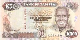 ZAMBIE   500 Kwacha   ND  (1991)    Sign.9   P. 35a   UNC - Zambie