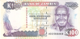 ZAMBIE   100 Kwacha   ND  (1991)    Sign.9   P. 34a   UNC - Zambie