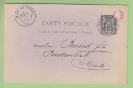 Pontarlier : Pernod Fils, Demande De Livraison Absinthe. Entier Postal 1879. 2 Scans. Oblitération Gare De Vienne 1879 - Pontarlier