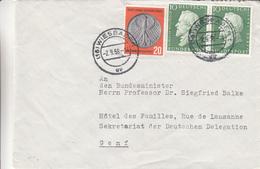 République Fédérale - Lettre De 1958 - Oblit Wiesbaden - Monnaies - BRD
