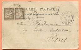 M5  PAIRE DE TIMBRES TAXE 10 CENTIMES TAD PARIS 1903 - Postmark Collection (Covers)