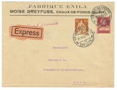 Suisse // Schweiz // Switzerland //  Lettre Express Au Départ De La Chaux-de-Fonds Pour Bale - Suiza