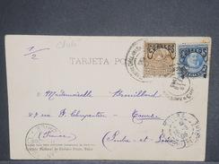 CHILI - Oblitération De Santiago Sur Carte Postale Pour La France En 1905 , Affranchissement Plaisant - L 7225 - Chili