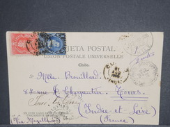 CHILI - Oblitération De Santiago Sur Carte Postale Pour La France En 1905 , Affranchissement Plaisant - L 7226 - Chili