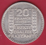 France 20 Francs Turin En Argent 1933 - France