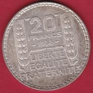 France 20 Francs Turin En Argent 1938 - France