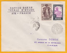 1937 - AOF, Soudan, Mali - Lettre Par Avion De Bamako Vers Dakar, Sénégal  - Voyage D' étude Air France - Soedan (1894-1902)