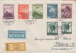 Brief  Flugpost Einschreiben Bregenz - Freiburg Mit Österreich Flugzeu ü. Landschaften  598 -602 U. D. Reich Mi.Nr. 662