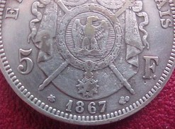 5 FRANCS 1867 A PARIS  Argent TYPE NAPOLEON III   ,  SILVER COIN - J. 5 Francs