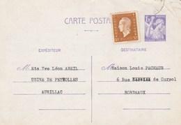 Yvert 651 CP1 Iris Complément Affranchissement 683 Dulac D'AURILLAC Cantal 31/7/1945 - Cartes Postales Types Et TSC (avant 1995)