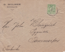 Lettre Bordeaux Gironde Pour Tammerfors Tampere Finlande Finland 1900 Timbre Type Sage 5c Vert Jaune - 1898-1900 Sage (Type III)