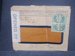 DANEMARK - Enveloppe Commerciale De Kjoge En 1917 Pour New York Avec Contrôle Postal, Affranchissement Plaisant - L 7249 - 1913-47 (Christian X)