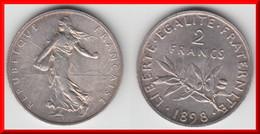 QUALITE **** 2 FRANCS 1898 SEMEUSE - ARGENT **** EN ACHAT IMMEDIAT !!! - I. 2 Francs