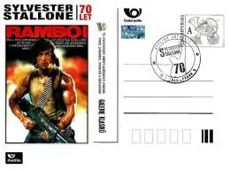 Czech Republic - 2016 - Silvester Stallone - Rambo I - Sberatel Exhibition - Postcard With Hologram And Postmark - Postwaardestukken