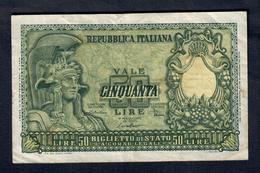 50 Lire Italia Elmata 1951 Di Cristina LOTTO 161 - [ 2] 1946-… : République
