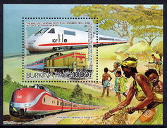 BURKINA FASO 1985 Locomotives Block MNH / ** - Burkina Faso (1984-...)