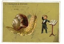 CHROMO IMAGE BISCUITS DIONNE DIJON ILLUSTRATION ESCARGOT CHANTEUR - Confiserie & Biscuits