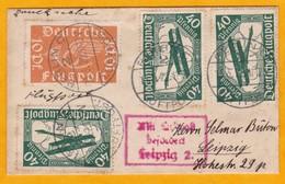 1922 - Allemagne Empire - Enveloppe  Mignonnette (10,4 X 6,4 Cm) Par Avion De Berlin Vers Leipzig - Deutschland